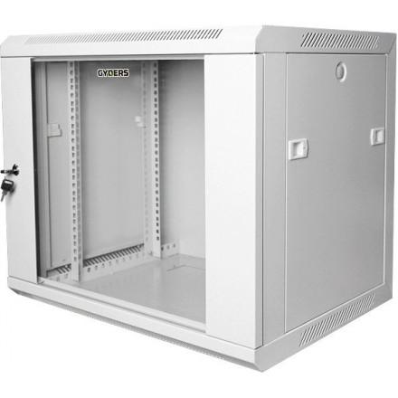 Шкаф 19 12U настенный дверь - стекло серый GYDERS GDR-126035G