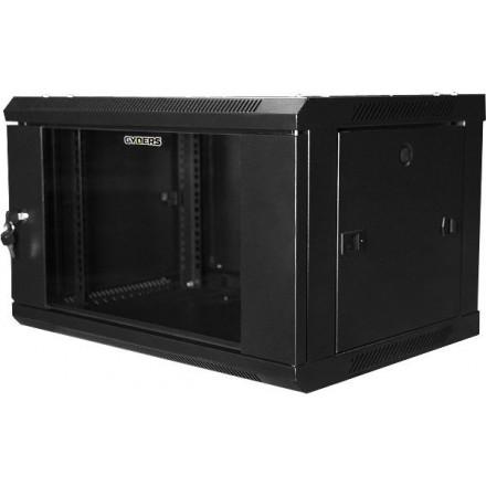 """Шкаф настенный 19"""", 6U, стеклянная дверь, черный, GYDERS GDR-66035B."""