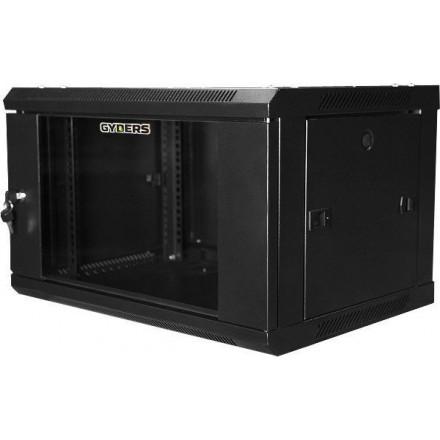 Шкаф настенный 19 дюймов 6U стеклянная дверь, черный GYDERS GDR-66060B