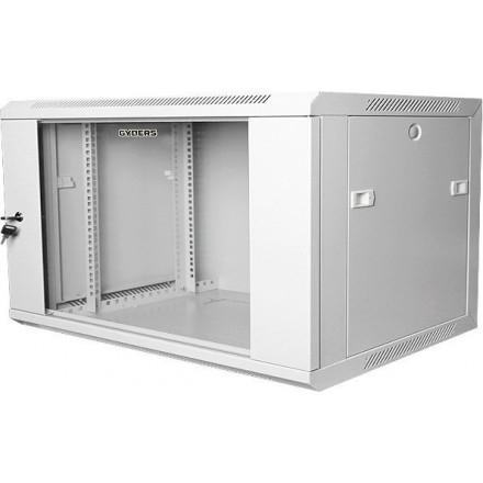 "Шкаф настенный, 19"" 9U, стеклянная дверь, серый GYDERS GDR-96045G"